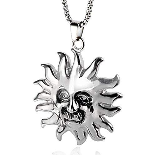 NC110 Sol Colgante, Collar, joyería de Acero de Titanio, patrón de la mitología Griega, Santo, Retro, Popular, Punk, joyería, Collar para Hombres YUAHJIGE