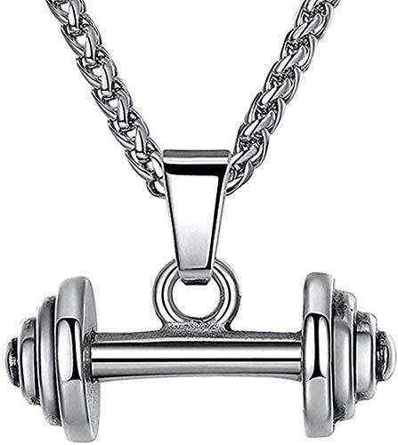 LBBYLFFF Collar Colgante con Mancuerna Personalidad Collar para Hombres Joyería Masculina