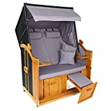 Hoberg 2-Sitzer-Strandkorb (Ostsee), 120x80x160 cm, 5 Liegestufen einstellbar, Rollen mit Feststellbremsen, ausziehbare Fußbänke, 2 Nackenkissen