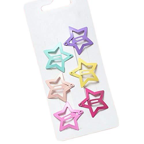 Emorias 1set(6pcs) Accessoires de Cheveux Minimaliste Clip Latéral de Petit Fraîcheur Clip en Métal Mignon Forme de Étoile