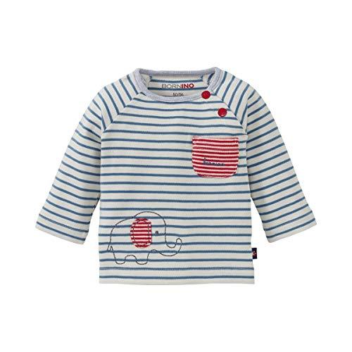 Bornino T-shirt raglan à manches longues éléphant top bébé vêtements bébé, écru rayé