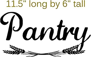 Walls with Style Pantry with Wheat, Sticker Decal for Pantry Door, (Black)