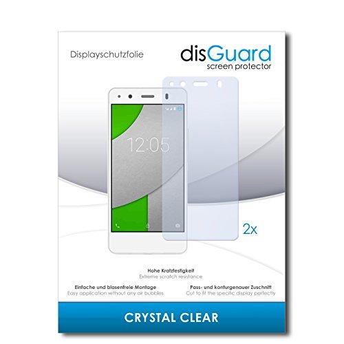disGuard® Bildschirmschutzfolie [Crystal Clear] kompatibel mit BQ Readers Aquaris A4.5 [2 Stück] Kristallklar, Transparent, Unsichtbar, Extrem Kratzfest, Anti-Fingerabdruck - Panzerglas Folie, Schutzfolie