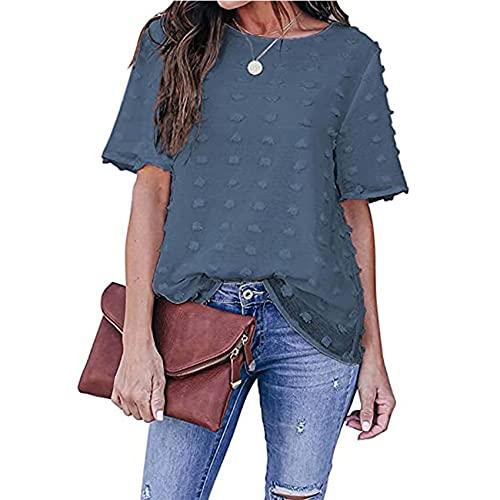 RWXXDSN Mode vrouwen effen kleur chiffon kant shirt casual ronde hals top - blauw - 5XL