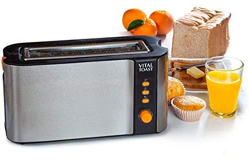 XSQUO Useful Tech Vital Toast TOSTADORA Capacidad Dos Tostadas Ranura XL. 1000W DE Potencia Funcion DESCONGELADO Y RECALENTAR. 6 Niveles DE Potencia Y Parrilla Naranja