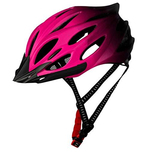 Hiinice Casco De Ciclista Adulto Ligero Casco De La Bici del Casco De La Bicicleta con La Luz Trasera Ajustable para Esencial Hombres Mujeres Rosa para Montar a Caballo