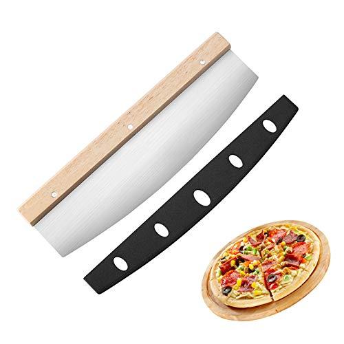 Olymajy Cortador de Pizza,balancín de pizza con hoja de acero inoxidable y mango de madera,Afilado y Duradero, Para cortar pizza, verduras, hierbas, carnes, quesos y más 35 * 10 cm
