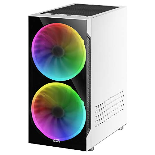 Mars Gaming MC9W, Caja PC ATX, Ventana Lateral+Frontal, 2xVentilador ARGB, Blanco