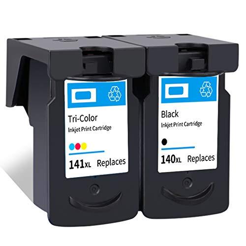 Cartucho de tinta PG-140XL CL-141XL, repuesto de alto rendimiento para impresora Canon Pixma MG 2110 2210 3110 3610 4110 MX 371 391 431 TS5110 negro y tricolor 1 negro 1 tricolor