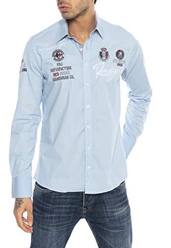 Redbridge Herren Hemd Langarm Freizeithemd Regular Fit Tailliert Bestickt R-Style R-2130 (3XL, Light Blau)