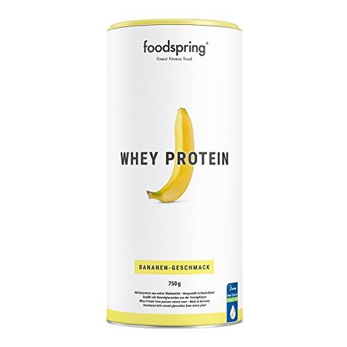 foodspring Proteína Whey, Sabor Plátano, 750g, Fórmula en polvo alta en proteínas para unos músculos más fuertes, elaborada con leche de pastoreo de primera calidad ✅