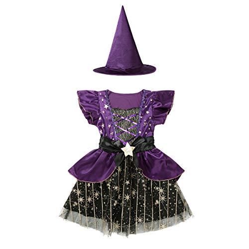 Yeahdor Vestido Nia para Halloween Disfraz Bruja Diablesa Morado Estrellas 2PCs Morado 6-7 aos