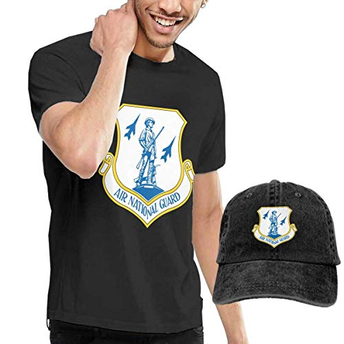 LYZBB Camisetas y Tops Hombre Polos y Camisas,US Air Force Air National Guard Logo Adult Round Neck Short Sleeve T-Shirts Black and Adjustable Cowboy Hat