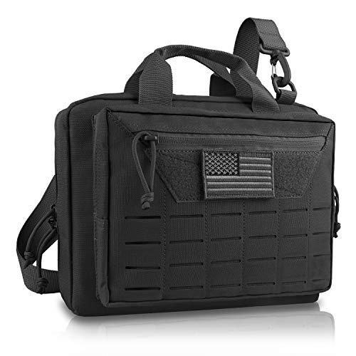 AMYIPO Tactical Pistol Case Hunting Shooting Range Bag Soft Handgun Case Tactical Gun Range Bag Additional Magazine Storage Slots (Black)