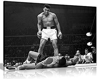 Panther Print Canvas Wall Art in Black & White Beautiful Living Room Ali Framed Picture Quality Boxing Pictures for Walls Muhammad Ali Knock Out Artwork Prints for Special Occasions  76x51cm