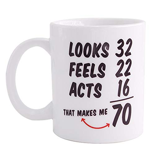 Image of the 1948 70th Birthday Mugs for Women and Men Coffee mug Funny 70 Year Old Anniversary Ideas for Grandma, Grandpa,Mom, Dad, Him, Her, Husband or Wife 11OZ Ceramic Mug Tea Cup White …