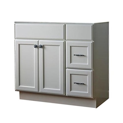 "JSI Plymouth 42"" White Two Door Vanity w/Two Right Hand Drawers - Cabinet Only"