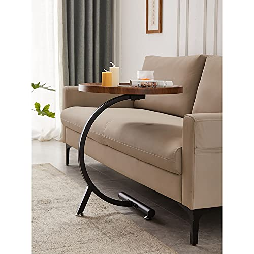 BVDOYFYJ Mesa de Centro Redonda, mesas auxiliares, Superficie de Madera rústica, Patas de Metal Resistentes Mesa de sofá Industrial para Sala de Estar Muebles para el hogar de diseño Moderno