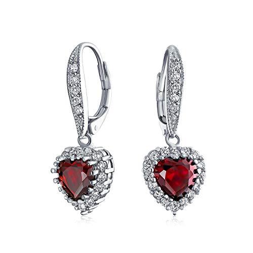 Novia aniversario boda romántica 4CT AAA CZ rojo corazón corazón en forma de zirconia Dangle Leverback pendientes para las mujeres novia invisible corte Rhodium plateado