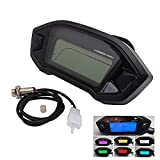 Universal Motorcycle Speedometer Tachometer Digital Odometer Fit for All Motorcycles with DC 12V,Adjustable for 7 Colors
