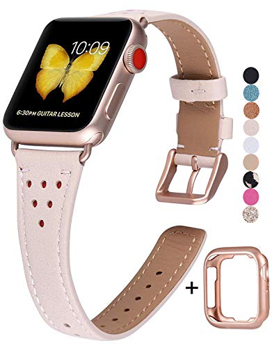 JSGJMY Genuine Leather Band Compatible with Apple Watch 38mm 40mm 42mm 44mm Women Slim Thin Strap for iWatch SE/Series 6/5/4/3/2/1(Pink Sand,38mm/40mm S/M)