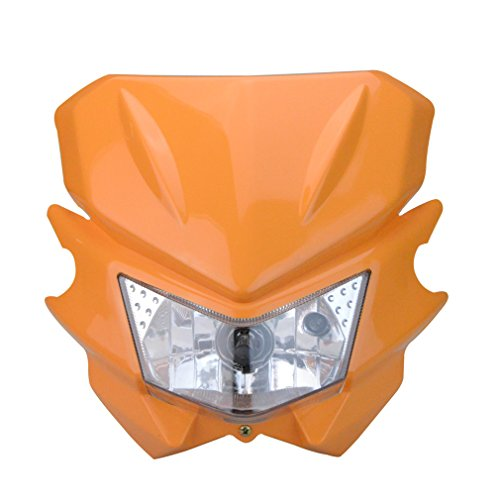 GOOFIT Motorrad Motocross Scheinwerfer Maske Verkleidungslicht Verkleidungs Lampshade Passt für KX125 KX250 KXF250 KXF450 KLX200 KLX250 KLX450 Orange