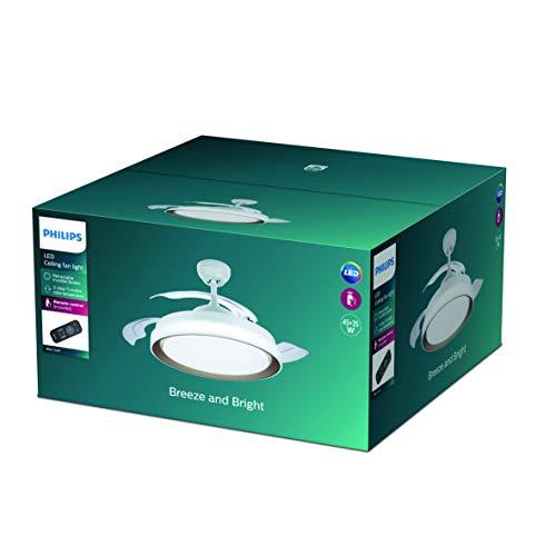 Philips Lighting Bliss Ventilador de techo con luz LED y mando, 35 W, Blanco y Dorado, 106x42cm