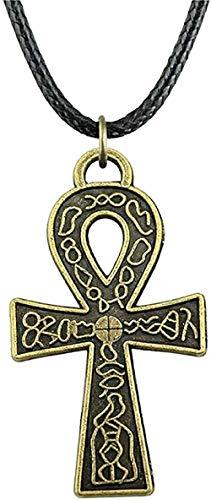 NC110 Collar de Cadena de Cuero de Moda para Mujer, Collar con Colgante de Cruz de 38X21 Mm para Regalo de Mujer, Collar de Color Bronce Antiguo, Regalo