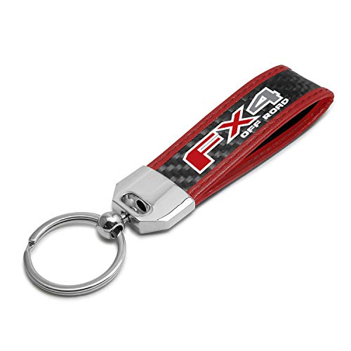 iPick Image for - Ford F150 FX4 Off Road Real Carbon Fiber Strap with Red Stitching Edge Key Chain
