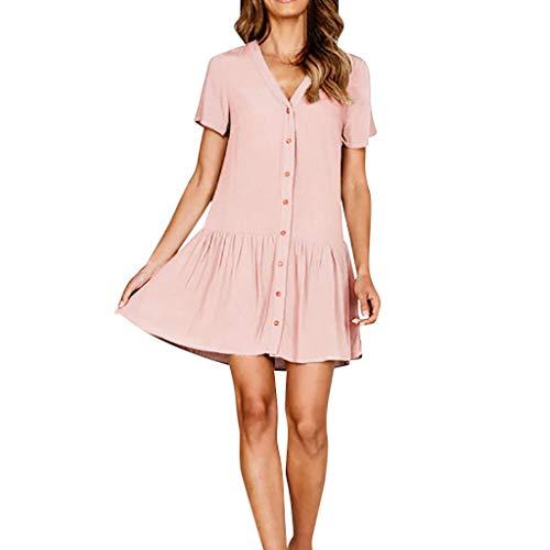 SANFASHION Damen Kleider,Frauen V-Ausschnitt Festes Kleid Hemd Ärmel Knopf Beiläufig und Abend Minikleid