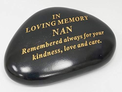 DF NAN Memorial Black & Gold Pebble Garden Ornament Stone/Rock Effect 14.5 x 10 cm