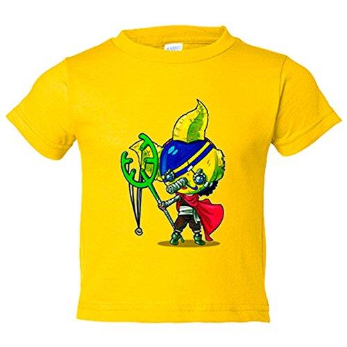 Camiseta niño Chibi Kawaii Sogeking parodia de One Piece Nikochan - Amarillo, 9-11 años