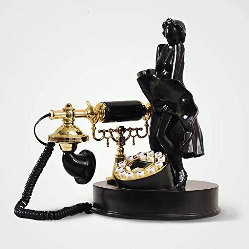 LYTBJ Teléfono Retro teléfono Fijo, teléfono de Escritorio clásico teléfono Retro Dormitorio Sala de Estar Escultura decoración Adornos Decorativos