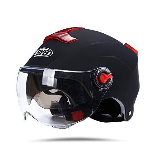 casco moto 4xl BOSEMAN Caschi da Moto per Adulti con Visiera. Casco Alla Moda per Biciclette Cruiser Scooter ATV Supera il Test di Collisione per Soddisfare la Sicurezza Stradale(Nero opaco)