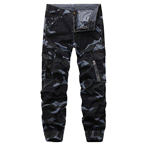 AYG Camouflagehose für Herren, Cargo-Stil, Combat-Hose, Arbeitshose, 28-38 46 blue gray camo
