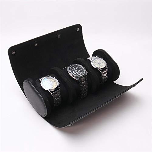 3 Slots Uhrenbox Retro Pu Leder Uhrenrolle Reisetasche Elastische Uhr Veranstalter Halter Schmuck Aufbewahrungsbox für Uhr Zubehör schwarz
