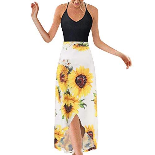 Auifor Dames zomer en mouwloze V-kraag charmante bedrukte mouwloze jurken