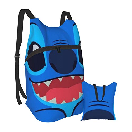 Cartoon Lilo Stitch Folding Portable Backpack Lightweight Packable Backpacks Travel Hiking Daypack Water Resistant Camping Outdoor Foldable for Men Women Travel Hiking Waterproof Backpack