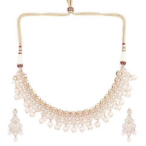 SONI SAPPHIRE - Parure composta da Collana Girocollo e Orecchini in Oro Rosa con Diamanti Americani incastonati per Ragazze e Donne