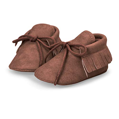 HONGTEYA Baby Girls Boys Christmas Reindeer Genuine Leather Shoes Soft Sole Bow Infant Crib First Walker Moccasins (3-6 Months/US 5/4.72'' / See Size Chart, Beige)