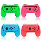 Hand Grips for Switch and for Switch OLED JoyCons, FYOUNG Hand Grips Controllers Compatible with Nintendo Switch for Joy Con and Switch OLED Model 2021 (4 Pack)(Red-Blue-Green-Pink)