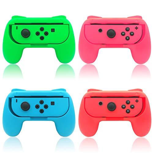 Joy Con Griffe Halterung für Nintendo Switch & OLED Model Controller, (4 Pack) Gummioberfläche Switch Joy Con Grip Controller Halter Zubehör - Rot/Blau/Grün/Pink