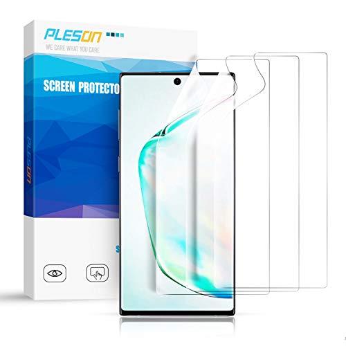 Pleson Samsung Galaxy Note 10 Schutzfolie, [Neue Installationsmethode] [3 Stück] Galaxy Note 10 Folie (Nicht Panzerglas), Blasenfreie Bildschirmschutzfolie für Samsung Galaxy Note 10