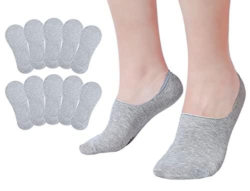 Falechay Füsslinge Sneaker Socken Damen 10 Paar No Show Snickers Socken Herren Söcklinge Grau 35-38