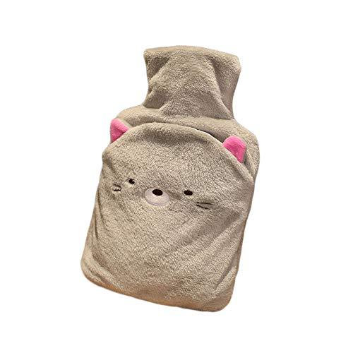 YIREAUD Wärmflasche aus Naturkautschuk mit niedlichem Tiermuster, weicher Fleecebezug für Mädchen und Damen, Adidas Sportschuhe mit Stollen, Graue Katze, 2L