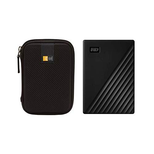WD 4TB My Passport USB 3.2 Gen 1 Slim Portable External Hard Drive (2019, Black) + Compact Hard Drive Case (Black) (4TB, Black)