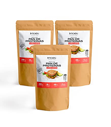 Bocado Functional Foods - Mezcla para Pan de Proteínas - Pack de 3 (3 sobres x 1kg)