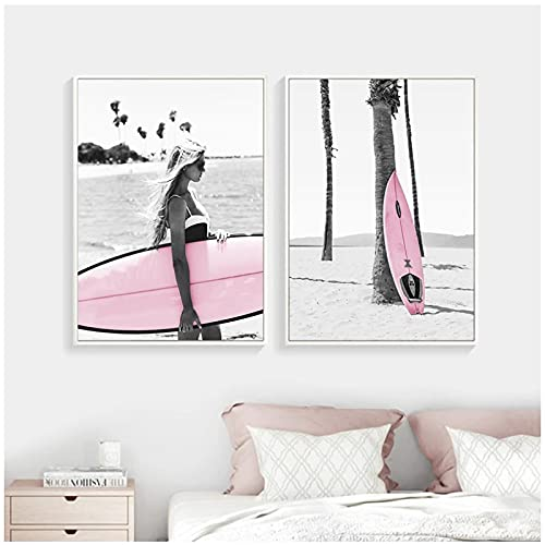 Arte de pared, playa rosa, tabla de surf, paisaje, póster de moda, lienzo nórdico, impresión de moda, pintura moderna, decoración de habitación para niñas, imagen sin marco