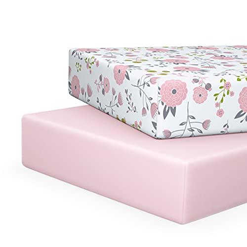 Pickle & Pumpkin Organic Crib Sheet   2 Pack Fitted Crib Sheets Set in 100% Organic Jersey Cotton   Crib Bedding for Baby Girl   Toddler Mattress or Standard Crib Mattress Sheets   Pink & Floral