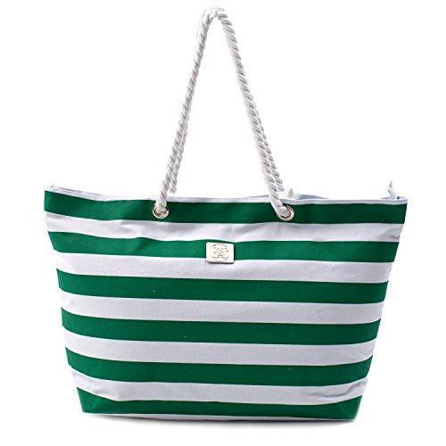 Large Canvas Striped Beach Bag - Top Zipper Closure - Waterproof Lining - Tote Shoulder Bag For Gym Beach Travel (Striped Green)